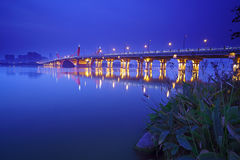Night scene of Lihu Bridge Stock Photo