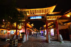 The night scene of Lijiang Dayan old town Stock Photos