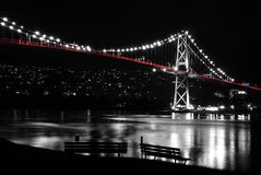 Night scene of Lions Gate in BC Canada. Royalty Free Stock Photo