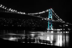 Night scene of Lions Gate Suspension Bridge Stock Photography