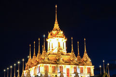 Night scene of Loha Prasat at Wat Ratchanaddaram Woravihara Royalty Free Stock Photography