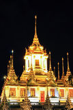 Night scene of Loha Prasat at Wat Ratchanaddaram Woravihara Royalty Free Stock Images