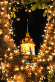 Night scene of Loha Prasat at Wat Ratchanaddaram Woravihara during His Majesty the King's bir Royalty Free Stock Photos