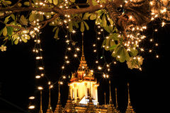 Night scene of Loha Prasat at Wat Ratchanaddaram Woravihara during His Majesty the King's bir Royalty Free Stock Images