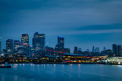 Night scene of London financial center along River Thames Stock Photography
