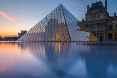 Night scene of the Louvre Museum Royalty Free Stock Photography