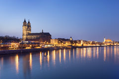 Night scene Magdeburg Stock Photo