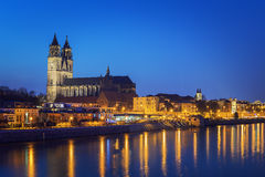 Night scene Magdeburg Stock Photo