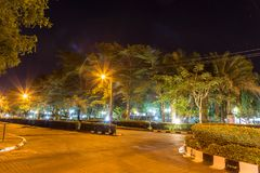 Night scene of a major garden at Mayfair royalty free stock photography