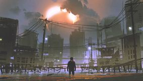 Man standing in the flooded city. Night scene of man standing in the flooded city, digital art style, illustration painting Stock Photo
