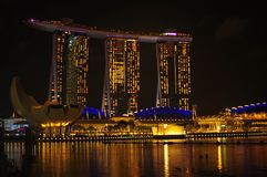 The night scene of Marina Bay on new year eve royalty free stock photos
