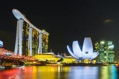 Night scene of Marina Bay Sands Hotel with illuminated lighting Stock Image