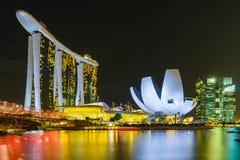 Night scene of Marina Bay Sands Hotel with illuminated lighting Stock Photos