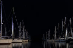 Night scene in a marina with moored yachts, in Lefkada island, Greece Royalty Free Stock Photography