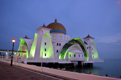 Night scene of Masjid Selat Melaka Royalty Free Stock Photo
