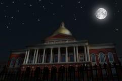 Night Scene, Massachusetts State House. Night Scene: Also known as the New State House, the Massachusetts State House is to be found at the very top of Beacon Stock Image