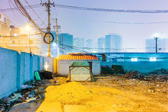 Night scene of messy residential area Stock Photo