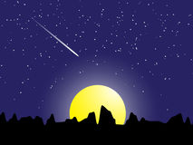 Night scene meteor with stars and moon light vector illustration Stock Image
