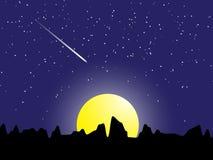 Night scene meteor with stars and moon light vector illustration Stock Image