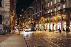 The night scene of Milan royalty free stock photography