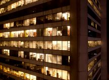 Night scene of modern buildings in vancouver Stock Photography