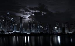Night scene of modern Dubai Marina with dramatic sky. Night scene of modern Dubai Marina skyscrapers with dramatic sky. Dubai is modern city in UAE stock image