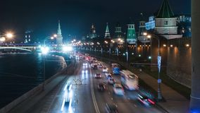 Night scene in Moscow, 4K time-lapse stock footage