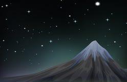 Night scene with mountain and stars. Illustration Stock Photos
