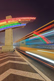 Night scene with multicolored neon and traffic in motion blur, Beijing, China Royalty Free Stock Images