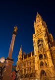 Night scene of Munich city Hall(München) Royalty Free Stock Image