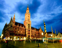 The night scene of Munich town hall royalty free stock images