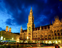 The night scene of Munich town hall Stock Photo