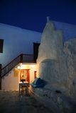 Night scene , Mykonos island. Night scene of stree on the Mykonos island Stock Photos