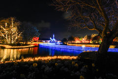 Night scene at Nabana no Sato,Mie,Japan. Nabana no Sato is famous for winter illumination in Japan Royalty Free Stock Images