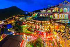Night scene of National Theater and Concert Hallnight scene of Jioufen village Stock Images