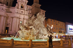 Night scene in Navona Square Stock Images