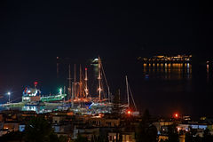 The night scene of the Naxos port in Greece Royalty Free Stock Photos