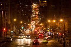 A Night Scene in New York. A night scene of lightened road in uptown manhattan Stock Photos