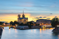 Night scene of Notre Dame de Paris Cathedral Royalty Free Stock Photo
