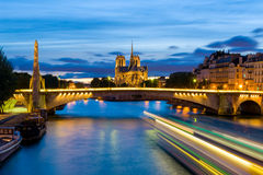 Night scene of Notre Dame de Paris Cathedral Stock Images