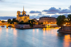 Night scene of Notre Dame de Paris Cathedral Stock Image