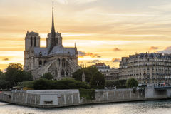 Night scene of Notre Dame de Paris Cathedral Royalty Free Stock Image
