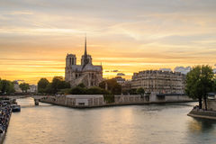 Night scene of Notre Dame de Paris Cathedral Royalty Free Stock Images