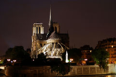 Night Scene at Notre Dame in Paris France Stock Image