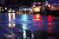 Free Night Scene Of Hard Rain Fall In The City. Stock Image - 192494041