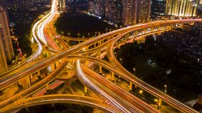 Night Scene Of Three-dimensional Traffic On Yan`an Middle Road Royalty Free Stock Images