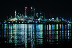 Night scene of Oil refinery Stock Photos