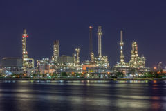 Night scene of oil refinery plant of Petrochemistry industry in Stock Photos