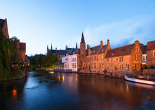 Night scene of old Brugge Royalty Free Stock Photos
