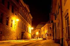 Night scene in old city. Levocha, Slovakia Royalty Free Stock Photos